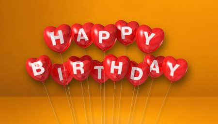 Red happy birthday heart shape air balloons on orange background scene. Horizontal Banner. 3D illustration render Archivio Fotografico