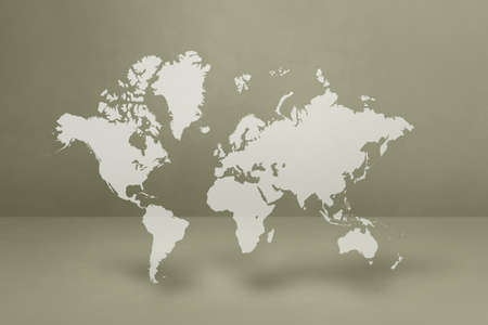 World map isolated on grey wall background. 3D illustration Archivio Fotografico