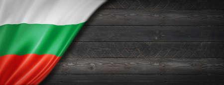 Bulgaria flag on black wood wall. Horizontal panoramic banner.