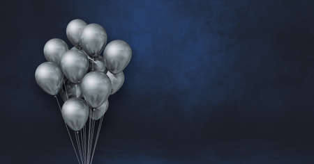Silver balloons bunch on a black wall background. Horizontal banner. 3D illustration render Archivio Fotografico