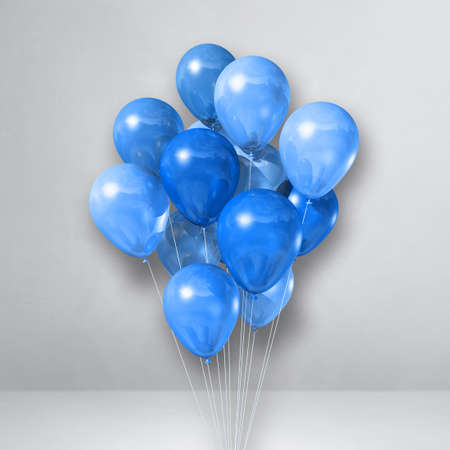 Blue balloons bunch on a white wall background. 3D illustration render
