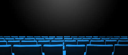 Cinema movie theatre with blue seats rows and a black copy space background. Horizontal banner