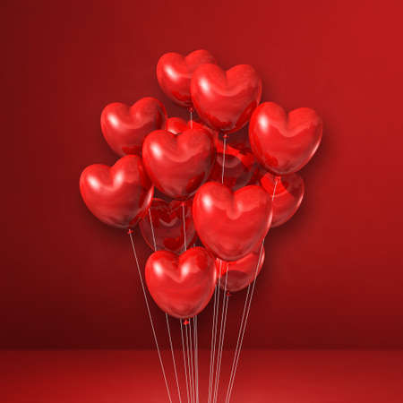Heart shape balloons bunch on a red wall background. 3D illustration render