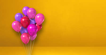Pink balloons bunch on a yellow wall background. Horizontal banner. 3D illustration render