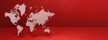 World map isolated on red wall background. 3D illustration. Horizontal banner