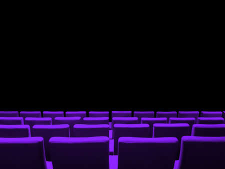 Cinema movie theatre with purple seats rows and a black copy space background Фото со стока