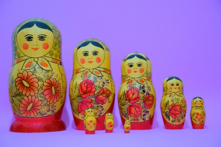 Painted dolls of russian tradition, from big one to small one in line