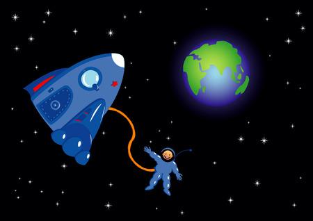 Astronaut in the space.  illustration. Illustration