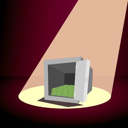 illustration of square cartoon safe full dollars