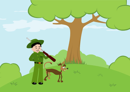 illustration of hunter with dog in the forest Vector