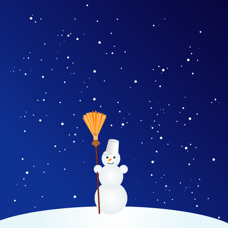 illustration of little cute snowman with broom Vector
