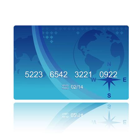 географический: blue credit card in geographical style Иллюстрация