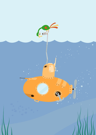Cartoon Submarine with funny color bird on the periscope.   Illustration.