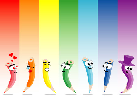illustration of rainbow and crayons Vector
