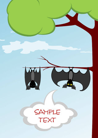 Couple of funny bats are hanging on the branch and talking