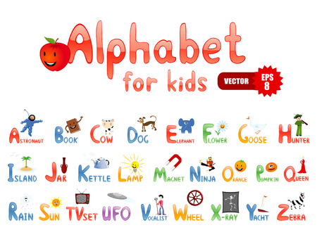 Alphabet with funny pictures for children Vector