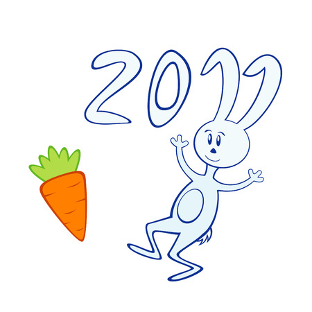 Vector illustration of cartoon bunny with carrot. Symbol of 2011 year. Stock Vector - 8617767