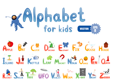 letter alphabet pictures: Vector alphabet with funny pictures for children education