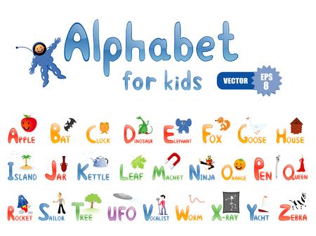 Vektor-Alphabet mit lustige Bilder f�r Kinder-Bildung Lizenzfreie Bilder - 8924429