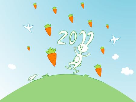 Vector illustration of cartoon bunny in the carrot rain Stock Vector - 8924425