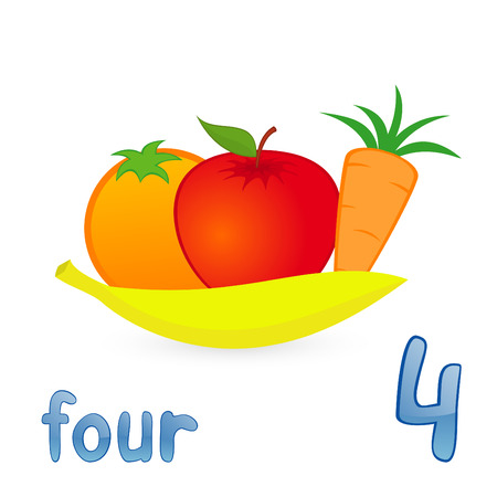 number of people: Vector illustration of four fruits for children education