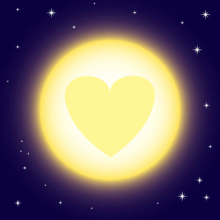 Vector illustration of full moon with heart sign Stock Vector - 8924410