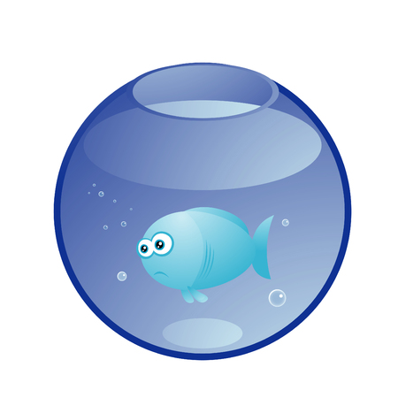 Vector illustration of sad turquoise fish in the aquarium Vector
