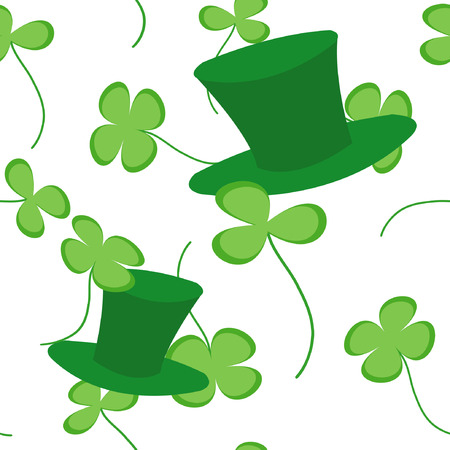 four objects: Vector seamless texture with clovers and green hats Illustration