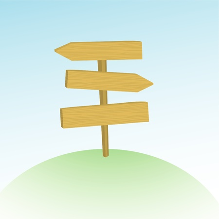 Vector illustration of wooden route sign on the hill Stock Vector - 9941830