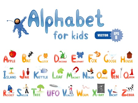 Vector alphabet with funny pictures for children education