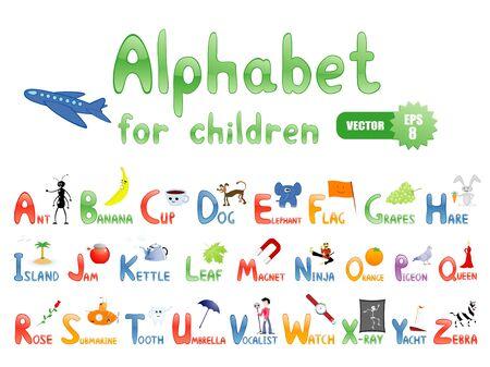 hormiga hoja: Alfabeto de vectores con fotos divertidas para educación de los niños