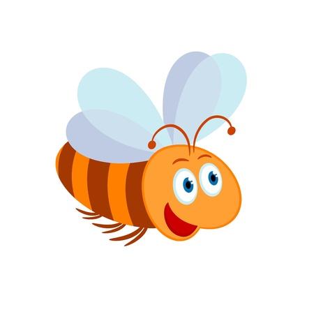 Vector illustration of cute cartoon bee