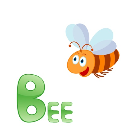 Funny alphabet for children. Bee - letter B Vector