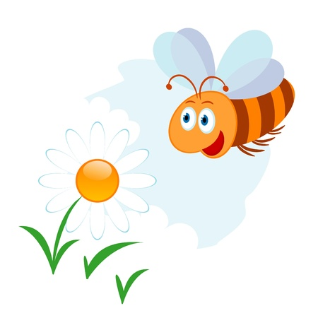 Vector illustration of cute cartoon bee and flower Vector