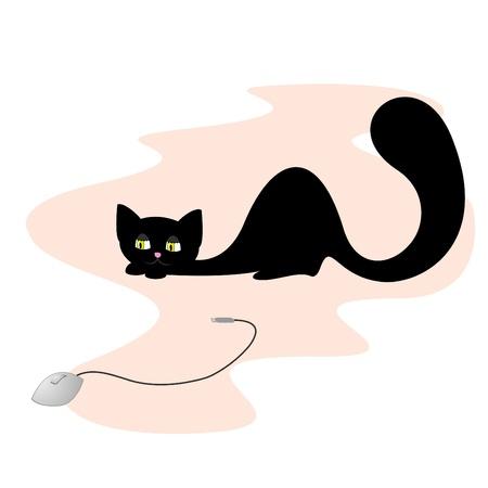jest: Illustrazione vettoriale della caccia gatto nero per il mouse del computer