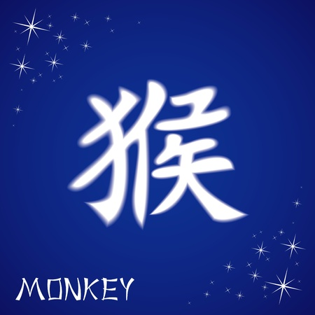 Vector illustration of chinese zodiac sign: monkey