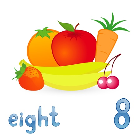 Vector illustration of eight fruits for children education Vector