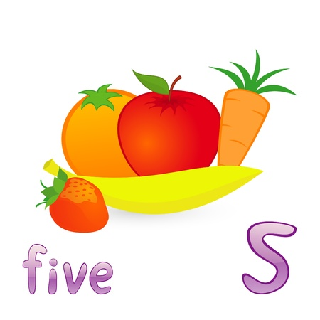 Vector illustration of five fruits for children education Vector