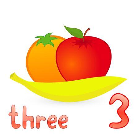 Vector illustration of three fruits for children education Illustration