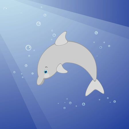 underwater fishes: Vector illustration of cute dolphin underwater