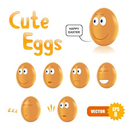 Vector set of cute easter eggs Illusztráció