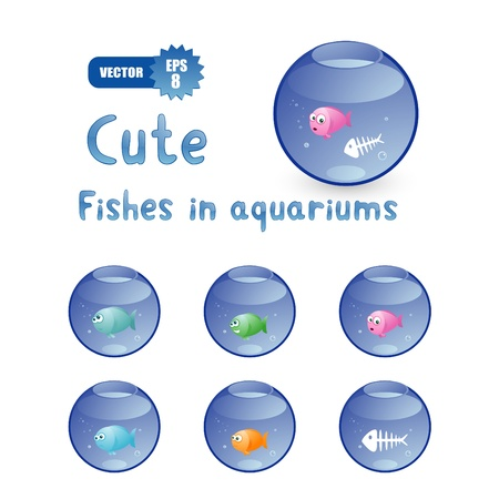 fish tail: Vector set of cute cartoon fishes in aquariums