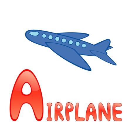 Funny alphabet for children. Airplane - letter A