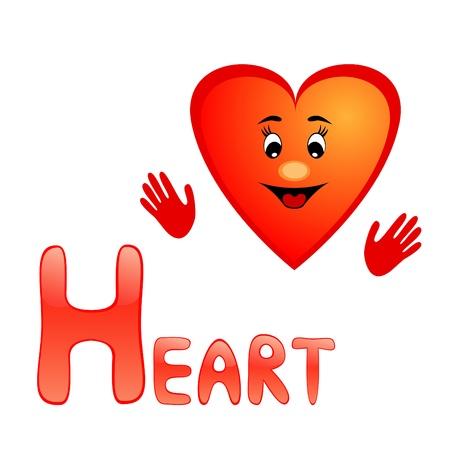 Funny alphabet for children. Heart - letter H. Vector