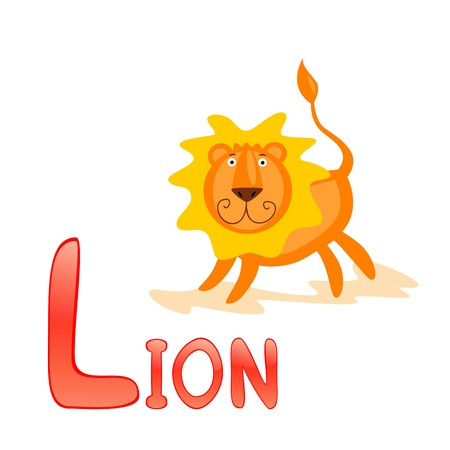 Funny alphabet for children. Lion - letter L