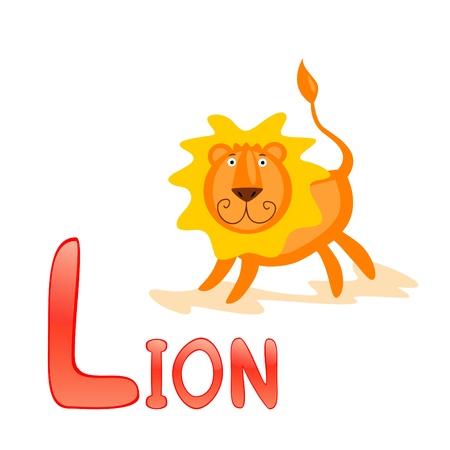 Funny alphabet for children. Lion - letter L Vector
