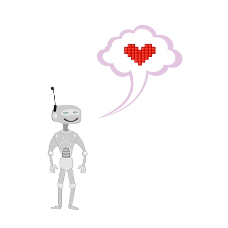 hinge joint: Vector illustration of cute robot in love
