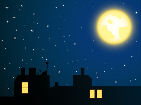 Vector illustration of night roofs and lonely cat looking at full moon Vector
