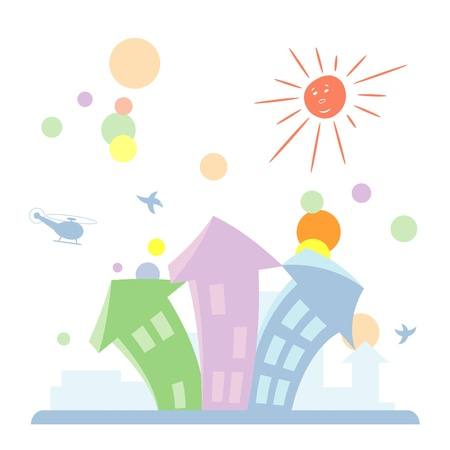 Vector illustration of cartoon toy town Illustration