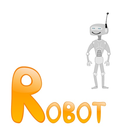 Funny alphabet for children. Robot - letter R.